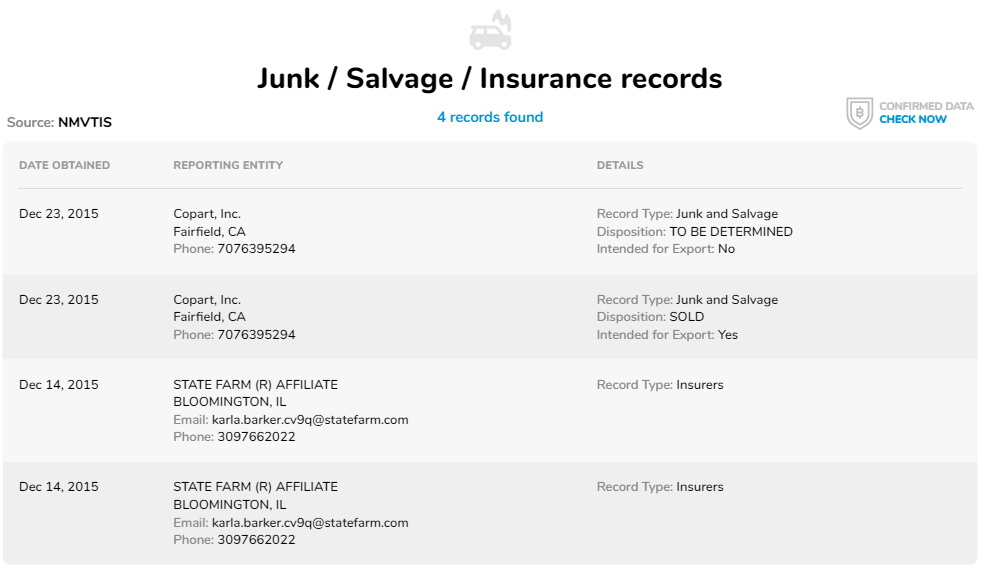 Junk / Salvage / Insurance records